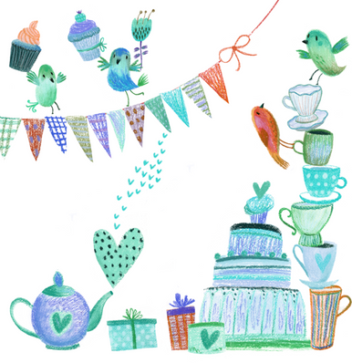 Cute colourful cake smash 002 greens & blues  photographers backdrop