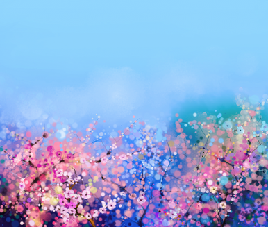 Spring pretty blues & pinks hand painted backdrop 04 photographers backdrop