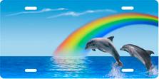 Blue Rainbow Dolphins Scenic Auto Plate sku T2060I