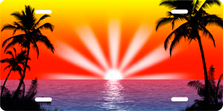 Full Color Palm Sunrise Scenic Auto Plate sku T2025FV