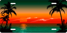 Green and Red Palm Sunset Scenic Auto Plate sku T2030GR