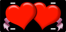 Red Hearts and Pink Ribbons on Black Auto Plate sku T2630A