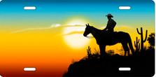 Sunset Cowboy Auto Plate sku 2275D