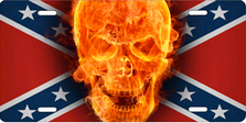 Fire Skull on Rebel Flag Auto Plate sku T3168FR