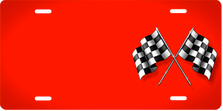 Checkered Flags on Red Offset Auto Plate sku T2732A