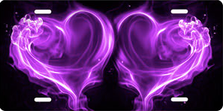 Purple Fire Hearts on Black Brushed Metal Auto Plate sku TB2628K