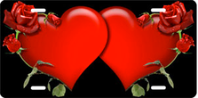 Red Hearts and Roses on Brushed Metal Black Auto Plate sku TB2631A