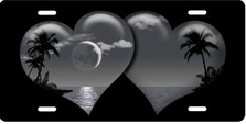 Gray Palm Hearts on Black Brushed Metal Auto Plate sku TB2670C