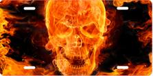 Fire Skull Brushed Metal Auto Plate sku TB3168RFC