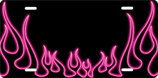 Pink Neon Classic Flames Auto Plate sku T2741R