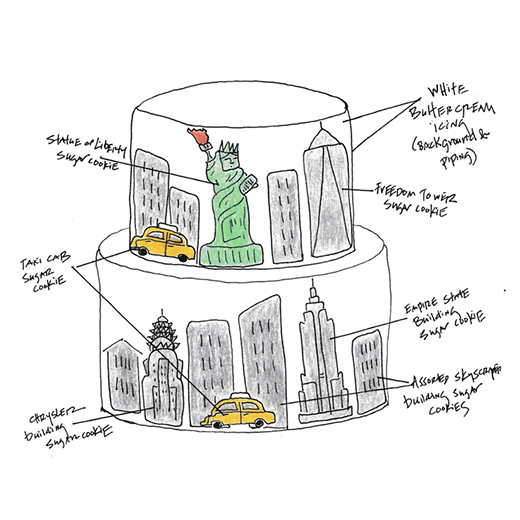 NYC Skyline Cookie Cake