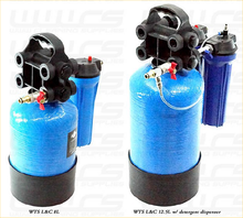 WTS Lift & Carry water purification system Shown to left is 8lt Lift & Carry, Right is 12.5lt Lift & Carry with OPTIONAL Detergent injector and tank. Standard 12.5lt Lift & Carry has one filter canister at back. Looks same as the 8lt only taller.