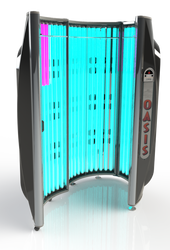 OASIS 36 Stand Up Tanning Booth - FINANCING AVAILABLE 36 Total 10 minute Reflector Tanning Lamps. Performs Like a 48 Lamp Tanning Bed