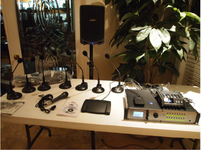 Start-Stop Golden-Ear R44 System shown with 7 Gooseneck Push-to-Mute Microphones, Start-Stop 4-Channel Transcription System,  with 8 Channel Digital Mixer and custom Wireless PA with Stand