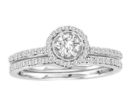 14k White gold Diamond Engagement Ring Set .58ct t.w
