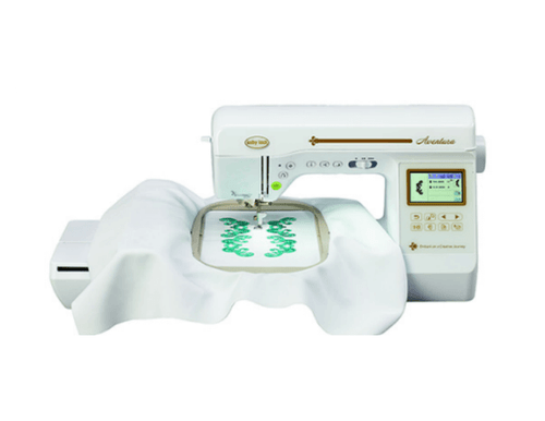 The Baby Lock Aventura BLMVA is the mid-line machine that can sew, quilt and embroidery.