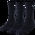 Nike Cotton 3 Pack Socks Crew Youth-Black