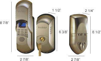 Dimensions and measurements of the BioBolt X2 biometric deadbolt.