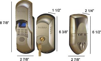 Dimensions and measurements of the BioBolt X2 biometric deadbolt.