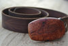 handcrafted ceanothus burl - also known as California Lilac harvested from the mountains surrounding Santa Barbara  Belt handmade from upcycled leather.