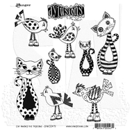 Dylusion's Cling Mount Stamps - Cat Among The Pigeons (DYR55471)