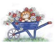 Wild Rose Studio - Cat In Wheelbarrow Clear Stamp (CL516)
