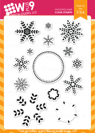 Wplus9 Folk Art Flurries Stamp