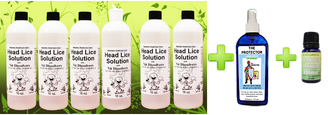 POWER PACK  LICE & NIT ERADICATOR KIT   lice egg plus6-ATTACK-PACK Head Lice Cure kit contains 6 (SIX) 16oz bottles, instructions, guarantee, and a dispenser cap  lice egg plus THE PROTECTOR Linen Spray (free USPS Priority shipping)   lice egg plus LICE BLOCK SHAMPOO ADDITIVE (free USPS Priority shipping)  You save over $10 over buying separately