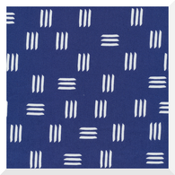 Lines & Shapes by Leah Duncan - Dashes Indigo Blue - 100% Organic Cotton CANVAS (0.25m)