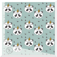 ELVELYCKAN DESIGN Panda Dusty Mint - Organic Cotton JERSEY 0.25M