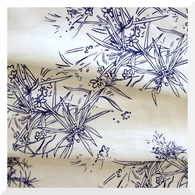 Spikey Sprigs by PipWilly - Ultramarine on Off White - Linen Cotton (0.25m) 145cm WIDE