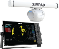 """2016 Simrad R3016 HALO™-4 kit is an exclusive 16"""" widescreen Radar Control Unit and HALO-4 Pulse Compression Radar. Kit includes R3016 radar control unit, Halo pedestal and 4 ft antenna, RI-12 interface, Interconnection cable 20m (66 ft), 1.8 m (6 ft) Ethernet cable.000-12199-001"""