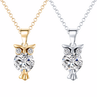 Cubic Zirconia Owl Crystal Necklace