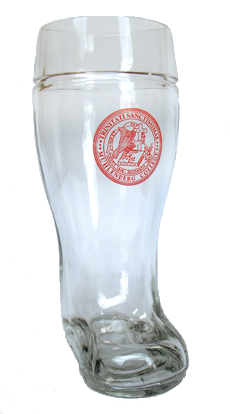 Glass German Beer Boot with Custom Color Logo