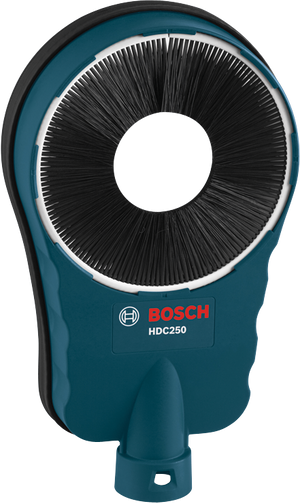 Bosch HDC250 SDS-max® Core Bit Dust Collection Attachment is universal and is designed to connect to a vacuum so that it can be used with any size hammer and can accommodate the full range of core bit diameters and drilling depth.