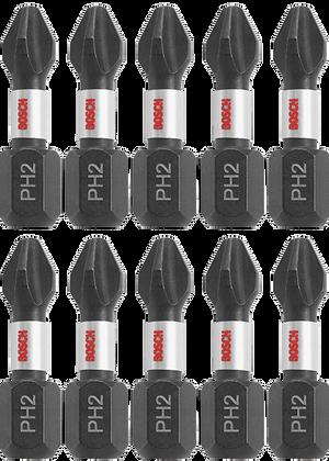 Bosch ITPH21B 10 piece Impact Tough™ 1 In Phillips #2 PH2 Insert Bits