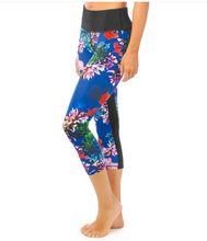 Flower Bomb 3/4 Legging in Blue | Lurv at Fire and Shine | Womens Leggings