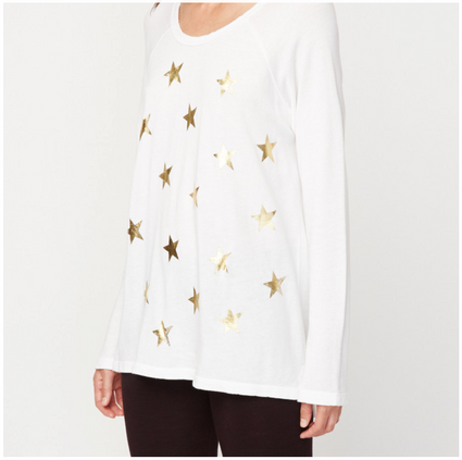Scattered Stars Long-Sleeve Top in White | Sundry at Fire and Shine | Womens Tops