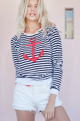 Anchor Long Sleeve in White and Black | Sundry at Fire and Shine | Womens Tops