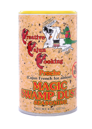 """Proche"" Magic Swamp Dust Seasoning with no MSG -8oz Can Proche' (Cajun French for almost) Just like the original Magic Swamp Dust, specially formulated to taste the same, without the MSG. Use it the same, on everything, for the best taste possible."