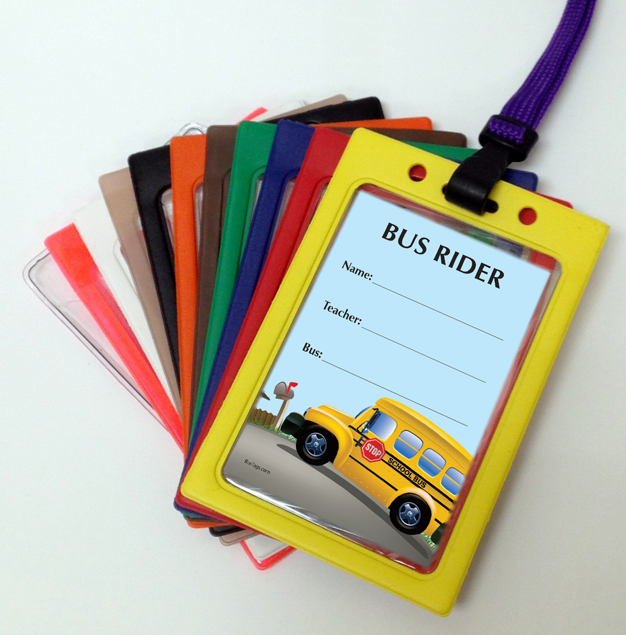 Standard Bus Tag Layout with Pouch Color options
