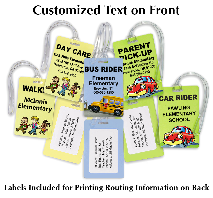Product includes printer labels and clear plastic loop attachments.