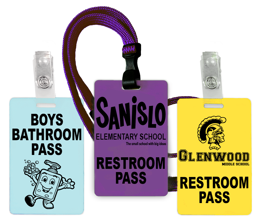 Bathroom/Restroom passes with solid color PVC cards