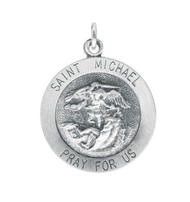 St. Michael Medallion, sterling silver, chain included