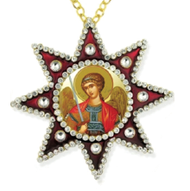 Ornament, icon of an angel in star-shaped frame