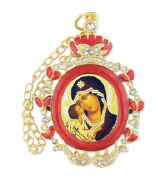 Ornament, icon of the Virgin & Child in an oval-shaped frame