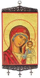 Tapestry Banner, icon of the Theotokos, 17 inch tall