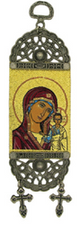 Tapestry Banner, icon of the Theotokos, 7 inch tall