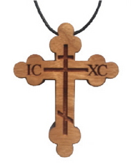Wood Neck Cross w/cord, Budded style, 2 inches tall