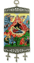 Tapestry Banner, icon of the Nativity, 9.75 inch tall